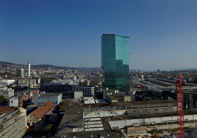 The 36-story, 126-m. (414-ft.)  Prime Tower office building in Zurich is currently Switzerland's tallest building.