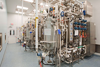 Bristol-Myers Squibb's Devens campus includes complex technology such as this seed reactor.
