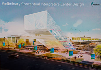 This early conceptual rendering depicts one possible vision of AltaSea's interpretive center, which the organization hopes to site at the end of the nearest inlet pictured above, cater-cornered from the massive warehouses.