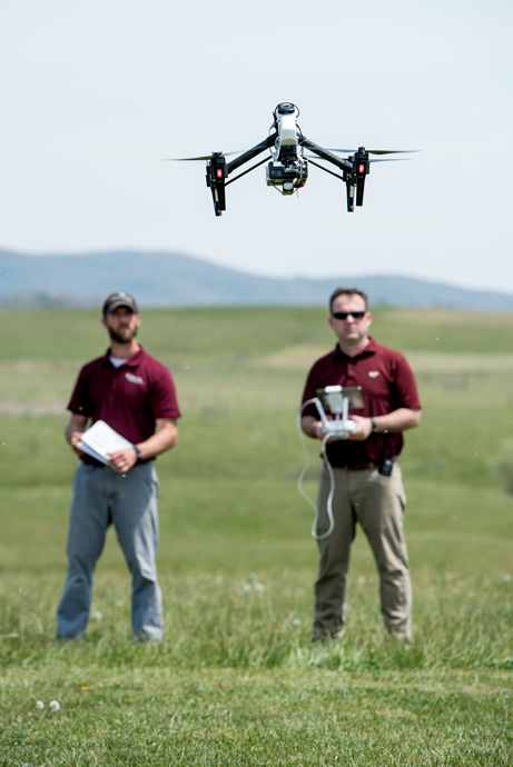 Tyson LeRoy and Matt Burton of the Virginia Tech Mid-Atlantic Aviation Partnership flew unmanned aircraft in Blacksburg, Virginia, in April as part of a national campaign testing an Unmanned Traffic Management research platform developed by NASA.