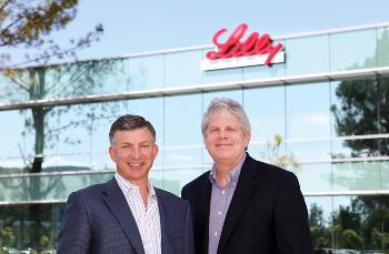 Daniel Ryan (left), principal of Veralliance Properties, and Tom Bumol, Ph.D., vice president of biotechnology discovery research and head of the new Lilly Biotechnology Center-San Diego.