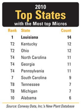 2010 Top States with the Most top Micros