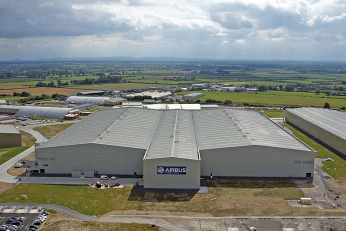 Airbus has opened a new 650 employee facility in broughton wales