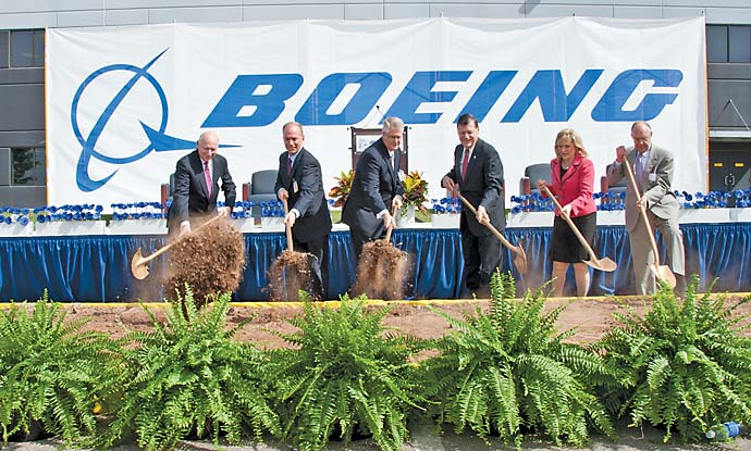 Boeing and Oklahoma officials, including Gov. Mary Fallin, second from right, broke ground April 26th on a new facility the aerospace giant will lease in Oklahoma City. The six-story, 320,000-sq.-ft. (29,700-sq.-m.) building will be home to the Boeing B-1 bomber program and C-130 Avionics Modernization Program, which are transitioning to Oklahoma.