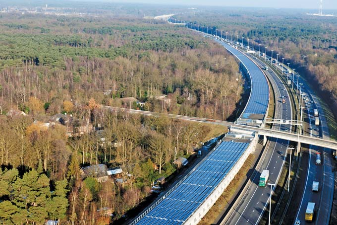 Solar panels cover the roof of the high-speed train tunnel near Antwerp.