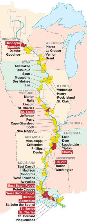 Mississippi River Corridor Counties Map