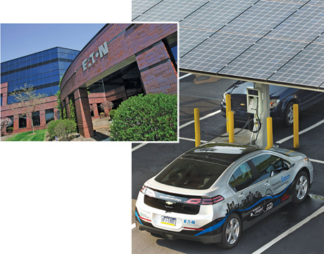 Eaton Corp facility and Volt automobile