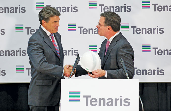 Gov. Rick Perry announced February 15, 2013, that Tenaris will build a new steel pipe manufacturing facility in Matagorda County, creating 600 jobs and $1.3 billion in capital investment. The state provided $6 million through the Texas Enterprise Fund (TEF) to close the deal. The 1-million-sq.-ft. (92,900-sq.-m.) Matagorda County facility will include a state-of-the-art seamless pipe mill, heat treatment and premium threading facilities. Once complete, the mill is expected to produce 600,000 tons of pipe annually.