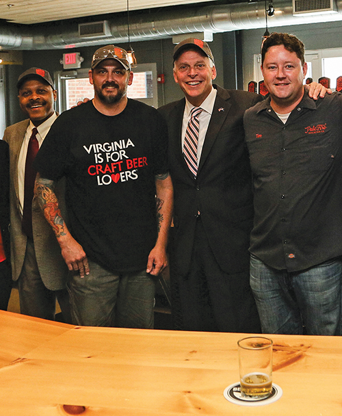 VA Gov McAullife, SecJones at Pale Fire Brewing Co in Harrisonburg VA