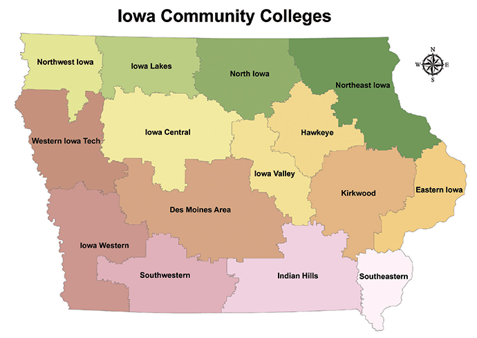 Iowa Community Colleges Map