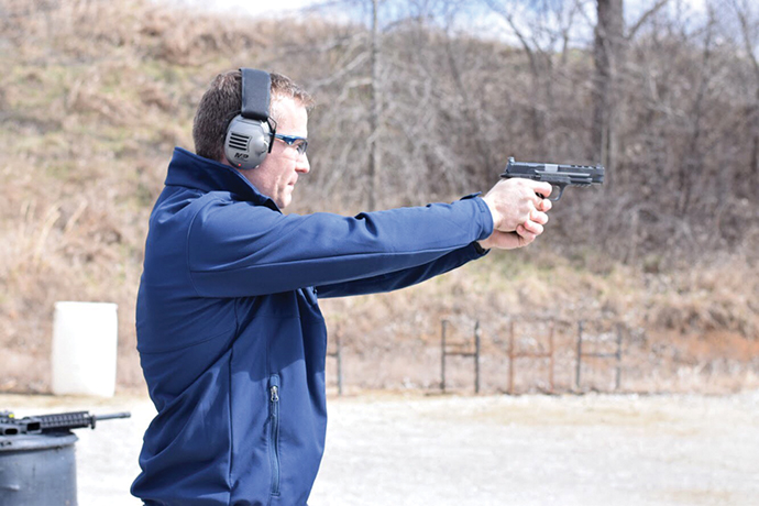 "In welcoming Smith & Wesson parent firm American Outdoor Brands' $55-million, 300-job investment to Boone County, Gov. Greitens in March ""put a few rounds down range"" with company leaders at the Green Valley Rifle and Pistol Club."