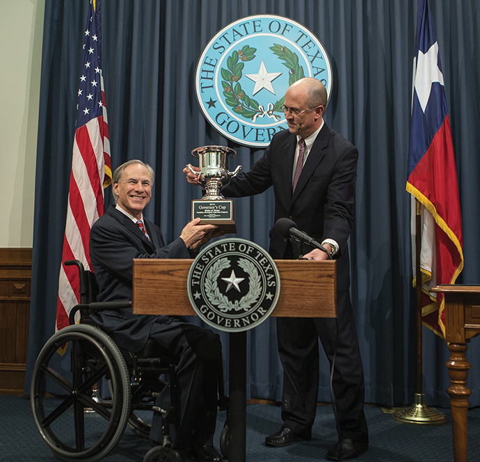 Governor Abbott and Mark Arend Cup