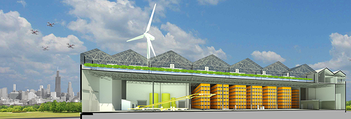 Repurposed warehouses become factories of the future producing on-demand goods.