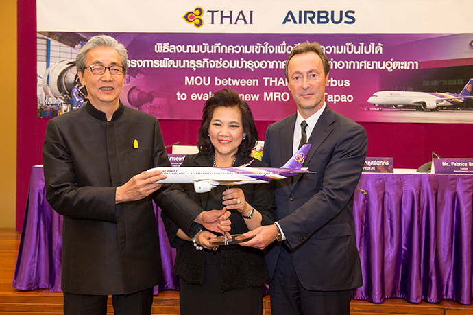 An agreement to evaluate the development of a major new maintenance and overhaul (MRO) facility at U-Tapao International Airport near Bangkok was signed in March by Usanee Sangsingkeo, Acting President, Thai Airways International and Fabrice Brégier, President, Airbus Commercial Aircraft; and witnessed by Somkid Jatusripitak, Deputy Prime Minister of the Kingdom of Thailand.