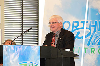Northern Plains Nitrogen COO Larry Mackie speaks at the NPN announcement in Grand Forks in May.