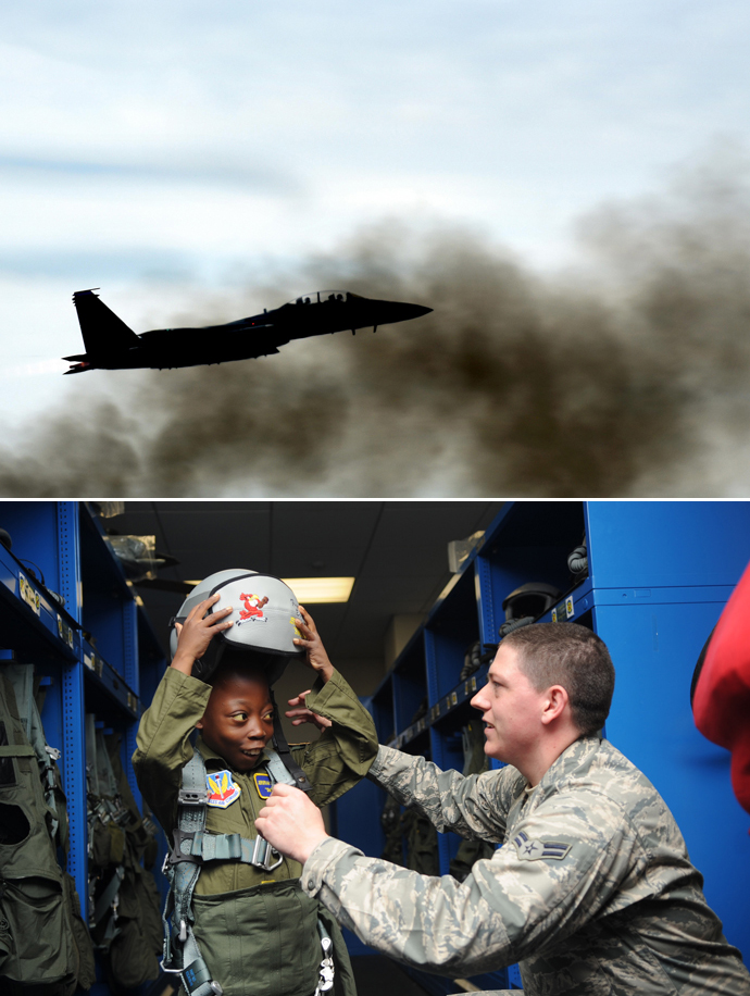 Seymour Air Force Base, plane and soldier with a child
