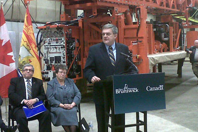 Miramichi-based Sunny Corner Enterprises Inc. will increase its fabrication capabilities in New Brunswick with the support of a combined investment of more than $2 million by the federal and provincial governments. From left: Public Safety Minister and Solicitor General Robert Trevors; Miramichi MP Tilly O'Neill-Gordon; and Premier David Alward.