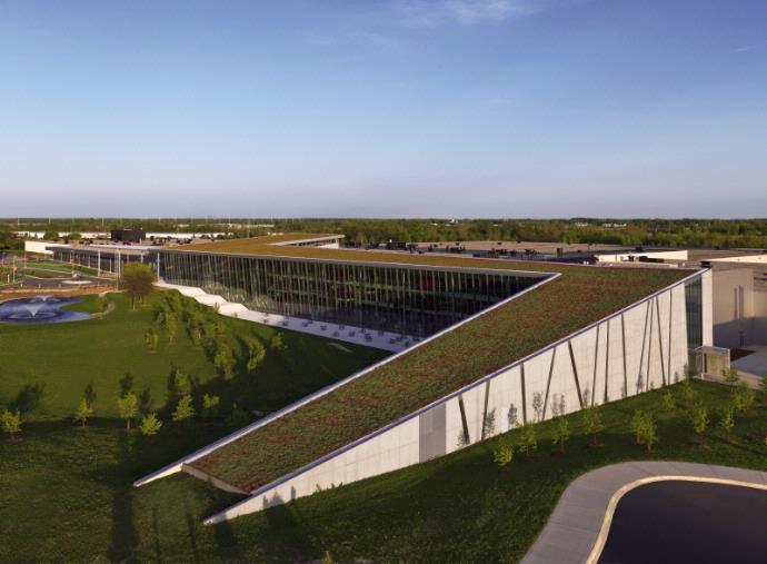 The 44,000-sq.-ft. (4,088-sq.-m.) live roof at Haworth's headquarters is one of the largest modular green roof installations in North America.