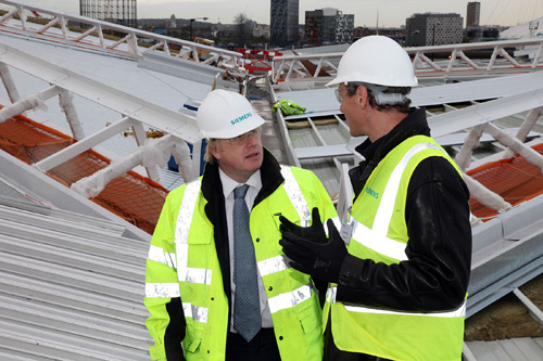 London Mayor Boris Johnson (left) visits The Crystal in Royal Victoria Docks with Roland Busch, CEO, Infrastructure & Cities Center, Siemens AG.