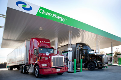 Clean Energy is partnering with truck maker Navistar and gas producer Chesapeake to roll out natural gas fueling infrastructure in select locations, such as this LNG fueling station in Las Vegas.