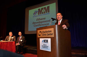 West Virginia Gov. Earl Ray Tomblin speaks at an ethane development conference. Tomblin said his state will benefit from the Shell project even though it's in a neighboring state. His team continues to pursue other major petrochemical complex projects said to be considering Appalachian locations.