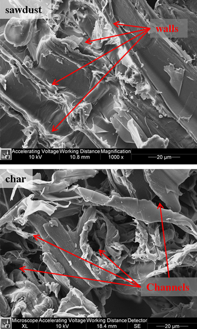 SEM images show pinewood sawdust (top) and char (below) using a Philips XL40 FESEM at 1,000 times magnification. The sawdust contains smooth surfaces divided by parallel walls. In contrast to the sawdust, the char surface appears rough because of randomly oriented fibers that exhibit significant wrinkling. Numerous wide tunnels protruding into the char particles are observed. These tunnels provide pathways for transport of CO2 into the particle.