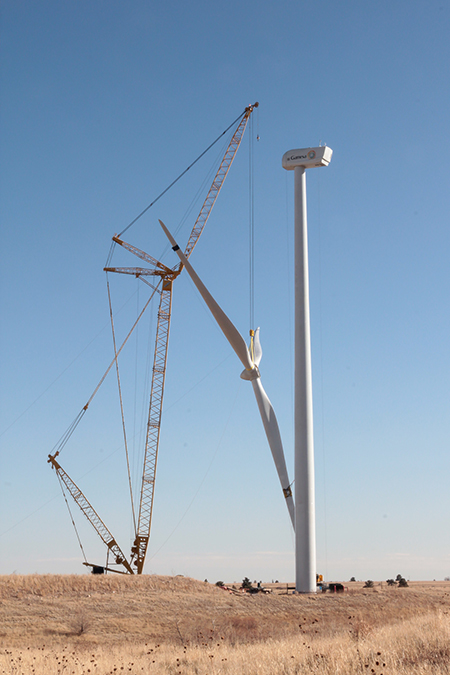 Earlier this month, workers tended to the construction of a Gamesa wind turbine and nacelle at NREL's 305-acre (123-hectare) National Wind Technology Center near Boulder.