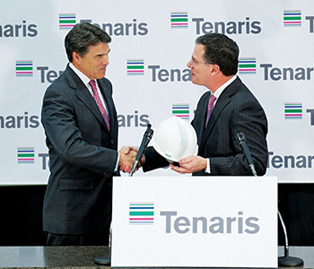Tenaris in February 2013 announced a $1.3-billion seamless pipe mill for Bay City, Texas, in Matagorda County, creating 600 jobs. Gov. Rick Perry greets Tenaris North America President Germán Curá at the announcement.