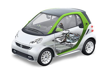 An electric powertrain with lithium-ion battery by Deutsche ACCUmotive powers Daimler's smart fortwo electric drive vehicle.