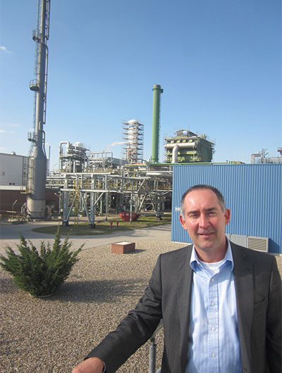 Andreas Dietrich, head of tonnage account management for the north, east and south of Germany for Linde Group's gas division, stands near a small part of the company's massive complex in Leuna, Saxony-Anhalt.