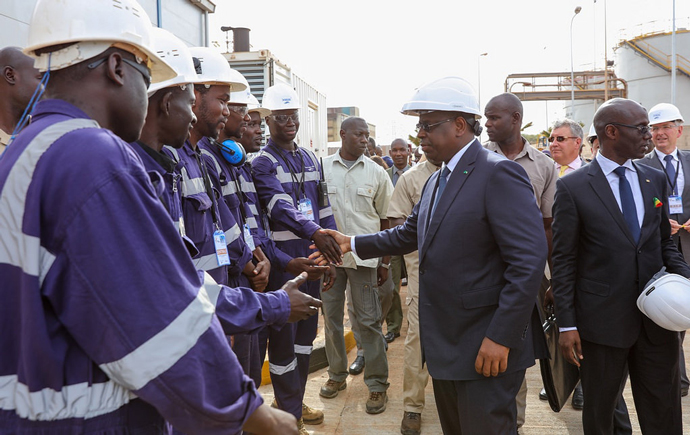 Macky Sall Senegal with Plant Workers