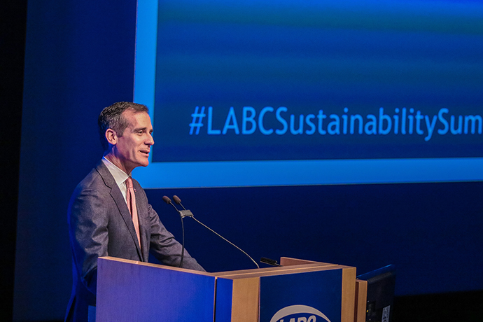 "On April 28, Mayor Garcetti spoke at the Los Angeles Business Council Sustainability Summit 2017. In reviewing progress toward his Sustainable City pLAn in March, he said, ""We are a healthier and more prosperous city today because we set bold targets and held ourselves accountable for making progress that Angelenos can see and feel."""